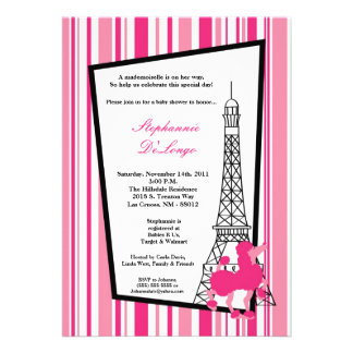 5x7 Girly Pink Poodle Paris Baby Shower Invitation
