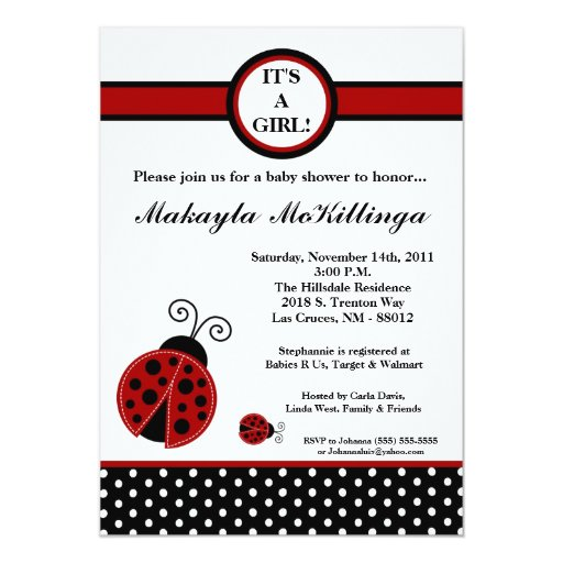 5x7 Girly Red Lady Bug Baby Shower Invitation