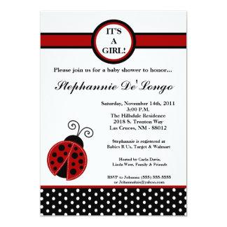 "5x7 Girly Red Lady Bug Baby Shower Invitation 5"" X 7"" Invitation Card"