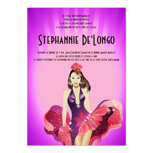 5x7 Glamour Girl Quinceanera Birthday Invitation