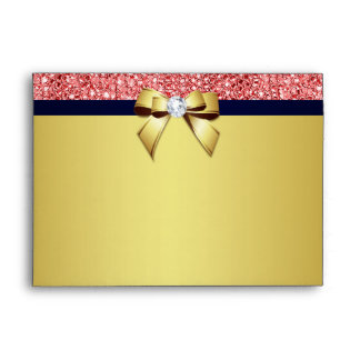 5x7 Gold Navy Diamond Bow Coral Sequins Envelope