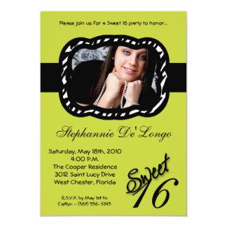 "5x7 Green Band PHOTO Sweet 16 Birthday Invite 5"" X 7"" Invitation Card"
