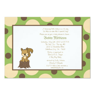 5x7 Green & Brown Squirell  Baby Shower Invitation