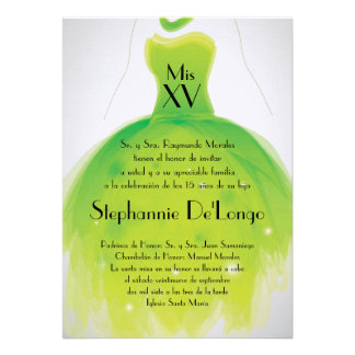 5x7 Green Dress Quinceanera Birthday Invitation