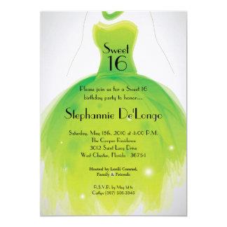 5x7 Green Dress Sweet 16 Birthday Invitation