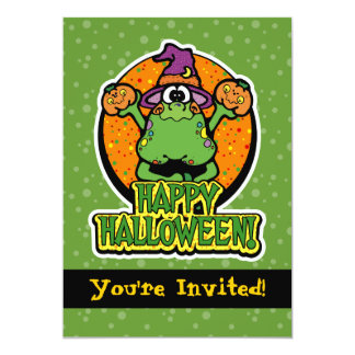 5x7 Green Frog Witch Halloween Party Invitations