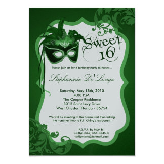 5x7 Green Masquerade Mask 16 Birthday Invitation