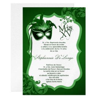 5x7 Green Masquerade Mask Quinceanera Invitation