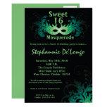 5x7 Green Masquerade Sweet 16 Birthday Invitation