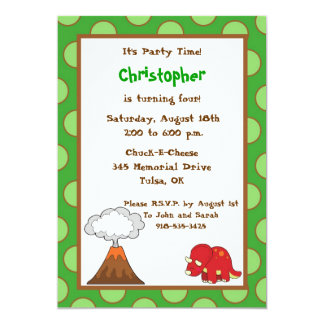 5x7 Green Polkadot Dinosaur Birthday Invite