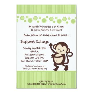 5x7 Green Pop Monkey Neutra Baby Shower Invitation