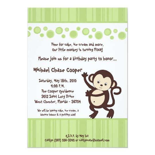 5x7 Green Pop Monkey Neutral Birthday Invitation