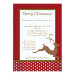 "5x7 Green Red Reindeer Christmas Party Invitation 5"" X 7"" Invitation Card"