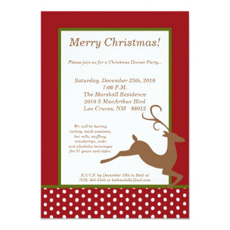 5x7 Green Red Reindeer Christmas Party Invitation