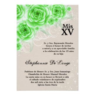 5x7 Green Roses Quinceanera Birthday Invitation