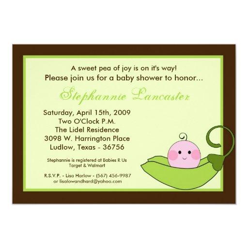 5x7 Green Sweet Pea in Pod Baby Shower Invitation