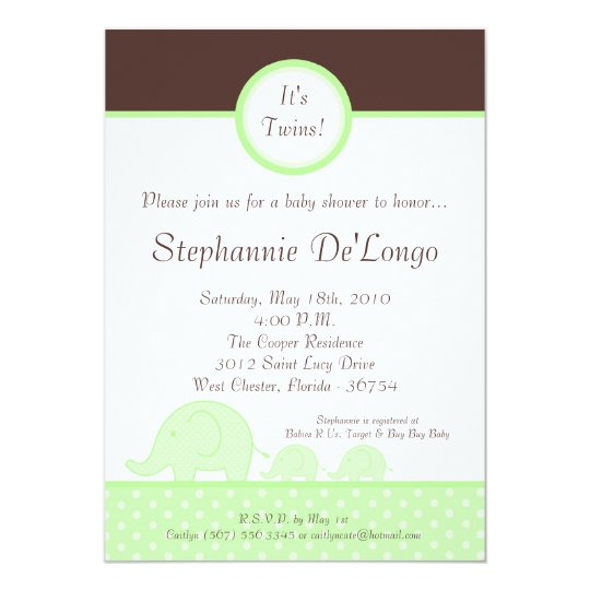 5x7 Green Twin Mod Elephant Baby Shower Invitation