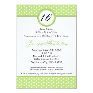 "5x7 Green White Polka Dot 16th Birthday Invitation 5"" X 7"" Invitation Card"