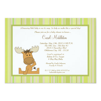 5x7 Green Woodland Moose Baby Shower Invitation
