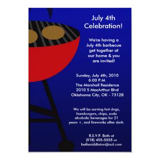 5x7 Grill Summer July 4th Barbecue Invitation