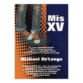 5x7 Grunge Sneaker Quinceanera Birthday Invitation