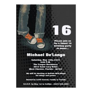 5x7 Grunge Sneakers Sixteen Birthday Invitation