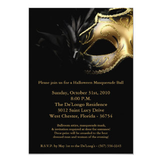 5x7 Halloween Masquerade Ball Mask Invitation