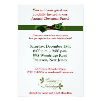 5x7 Happy Holidays Christmas Holly Invitation