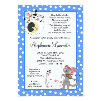 5x7 Hey Diddle Didd Nursery Baby Shower Invitation