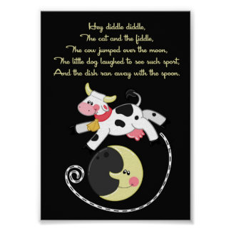 5x7 Hey Diddle Diddle Rhyme Kids Room Wall Art