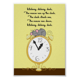 5x7 Hickory Dickory Dock Rhyme Kids Room Wall Art