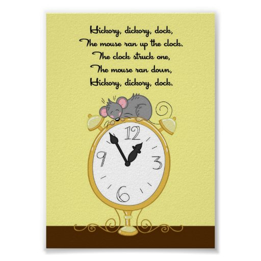 5x7 Hickory Dickory Dock Rhyme Kids Room Wall Art Poster