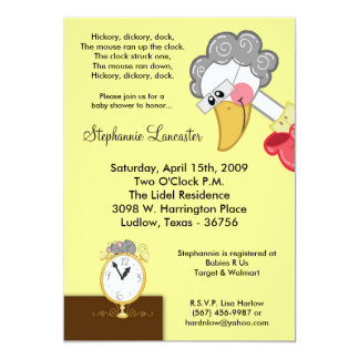 5x7 Hickory Dickory Nursery Baby Shower Invitation