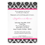 5x7 Hot Pink Blac Damask Birthday Party Invitation Announcements