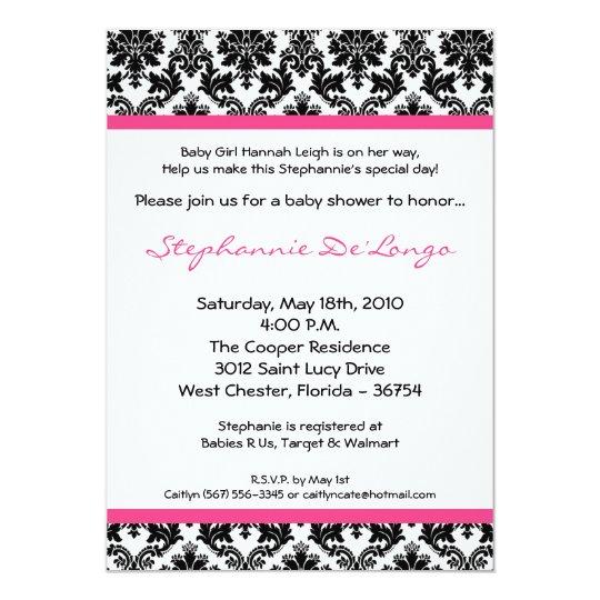 5x7 Hot Pink Black Damask Baby Shower Invitation