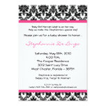 5x7 Hot Pink Black Damask Baby Shower Invitation Personalized Announcements