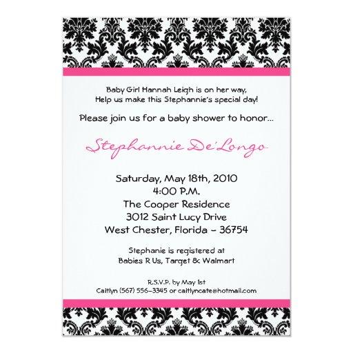 "5x7 Hot Pink Black Damask Baby Shower Invitation 5"" X 7"" Invitation Card"