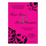 5x7 Hot Pink Black Floral Linen Wedding Invitation Custom Announcements