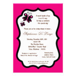 5x7 Hot Pink Butterfly Baby Shower Custom Invitation