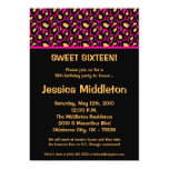 5x7 Hot Pink Cheetah 16th Birthday Invitation