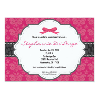 hot pink damask baby shower invitations  announcements  zazzle, Baby shower invitations