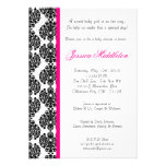 5x7 Hot Pink Damask Lace Baby Shower Invitation