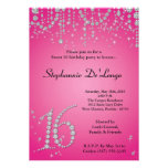 5x7 Hot Pink Diamond Sweet 16 Birthday Invitation