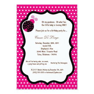 5x7 Hot Pink Lady Bug Birthday Party Invite