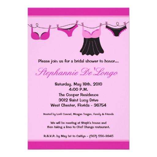 5x7 hot pink lingerie bridal shower invitation zazzle for Lingerie bridal shower invitations