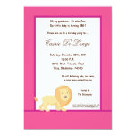5x7 Hot Pink Lion Birthday Party Invite