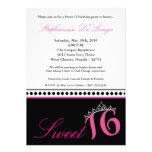 5x7 Hot Pink Tiara Sweet 16 Birthday Invitation