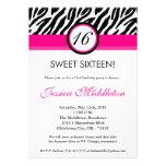 5x7 Hot Pink Zebra16th Birthday Invitation