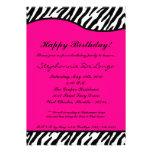 5x7 Hot Pink Zebra Birthday Party Invitation
