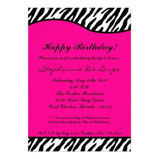 5x7 Hot Pink Zebra Birthday Party Invitation  Zazzle